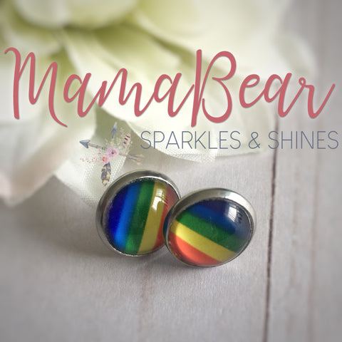 Rainbow Glass Studs