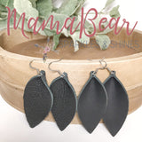 Black Genuine Leather Pinch Leaf Slender Dangles