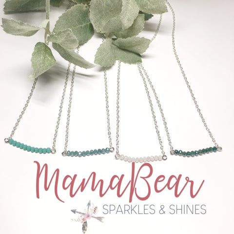Seed Bead Bar Silver Necklace