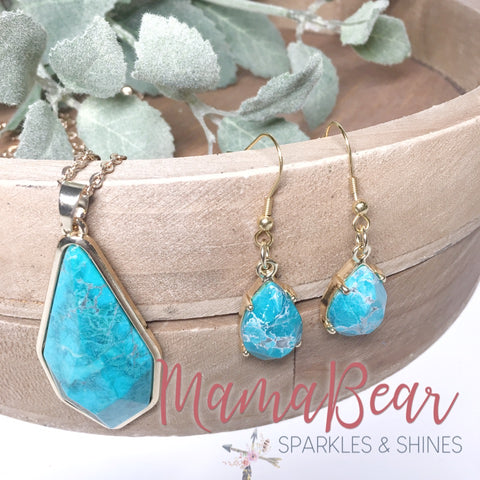 Turquoise Howlite Pendant Earrings + Necklace