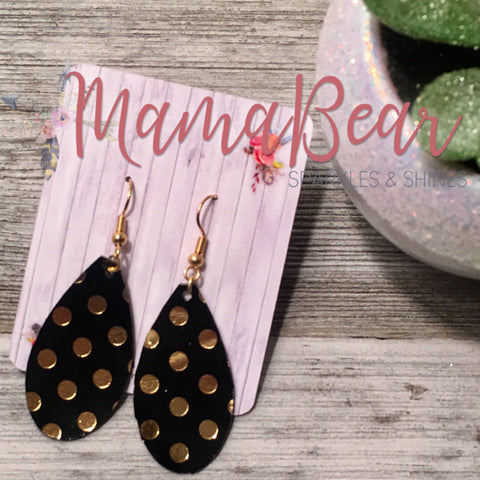 Polka Dot Gold Faux Leather Dangles