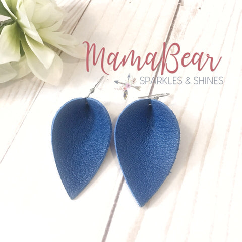 Colbalt Blue Genuine Leather Pinch Leaf Dangles