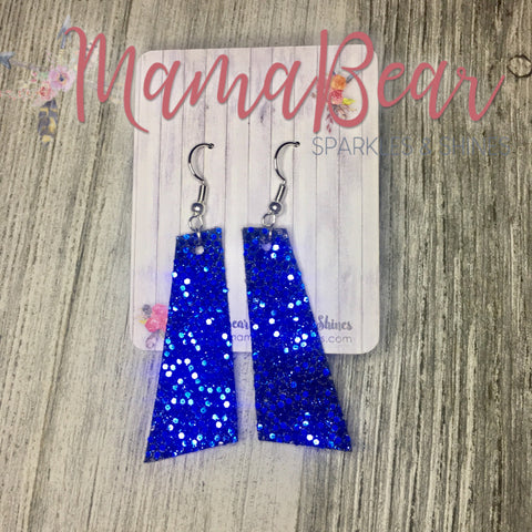 RectANGLE Faux Leather Dangles ~ Blue Glitter