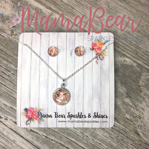 Glam Rose Gold Necklace+Earrings Set