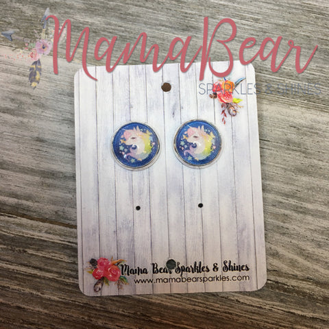 Pastel Unicorn Glass Studs