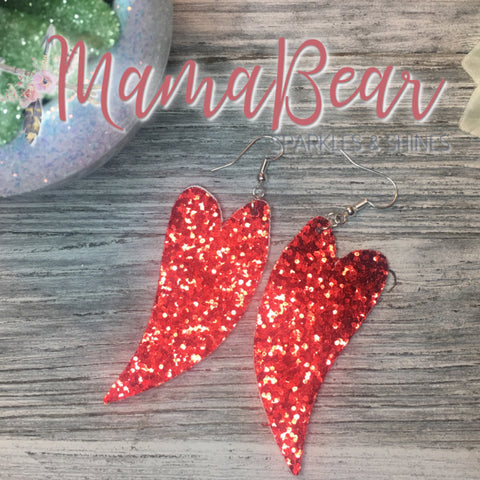 Red Glitter Heart Faux Leather Dangles