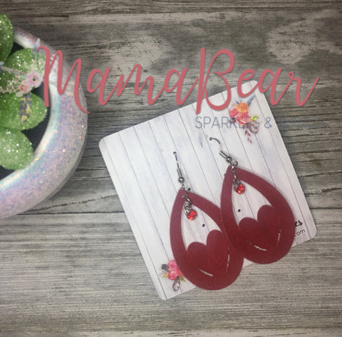 Red Bling'n Heart Faux Suede Dangles