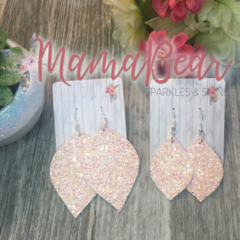 Iridescent Pink Glitter Faux Leather Dangles