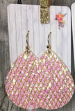 Iridescent Gold Glitter Faux Leather Dangles