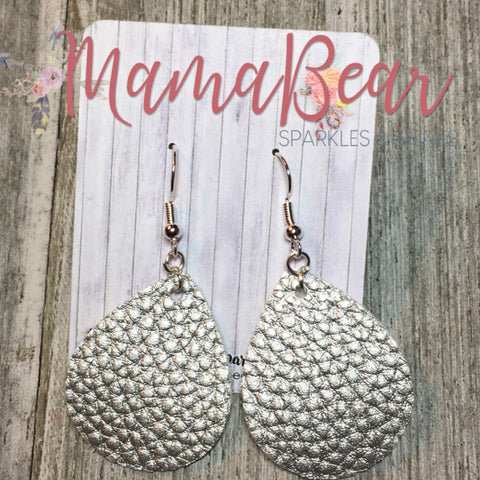 Pebbled Faux Leather Dangles ~ Silver