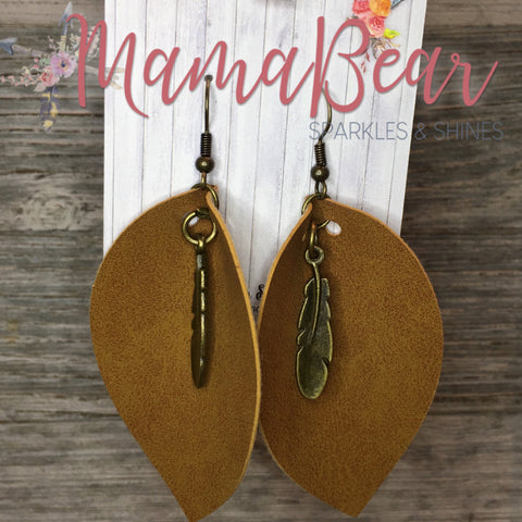 Charmed Brown Pinch Leaf Faux Leather Dangles