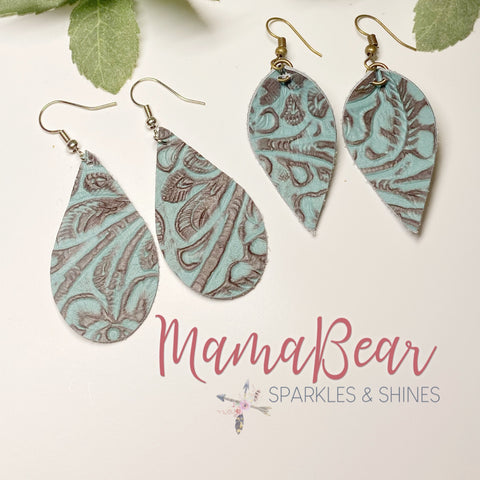 Turquoise Embossed Genuine Leather Dangles
