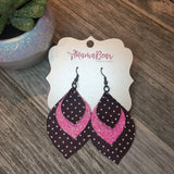 Black'n Hot Pink Faux Leather Petals