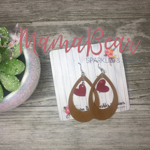 Valentine's Faux Suede Dangles ~ Brown