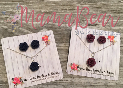 RoseBud Necklace + Earrings