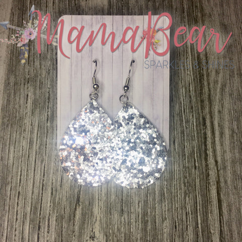 Silver Glitter Faux Leather Dangles
