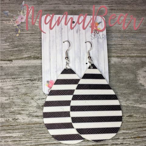 White+Black Stripe Faux Leather Dangles
