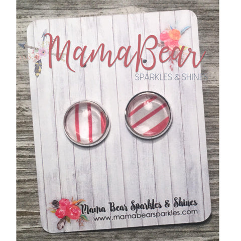 Red Stripe Glass Studs