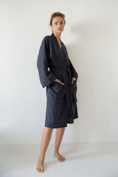 LONG KIMONO ROBE, MIDNIGHT BLUE