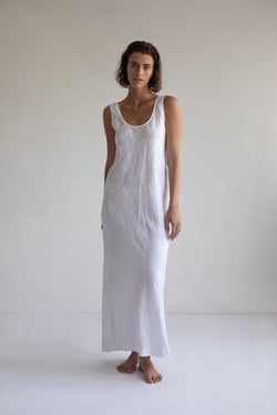 LONG SLIP DRESS, WHITE