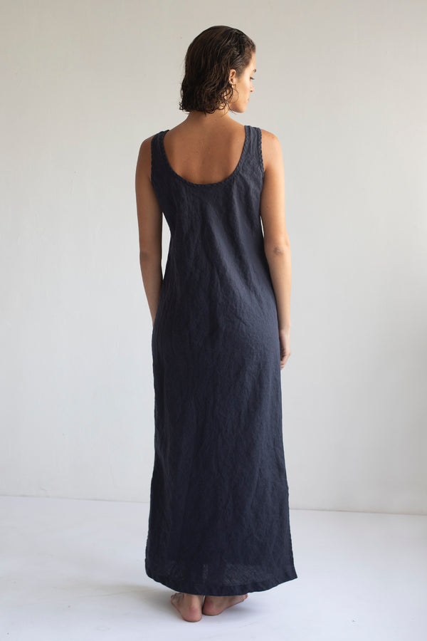 LONG SLIP DRESS, MIDNIGHT BLUE