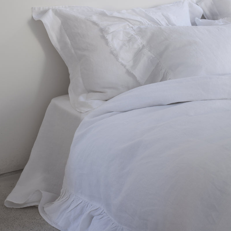 RUFFLE PILLOWCASES, WHITE