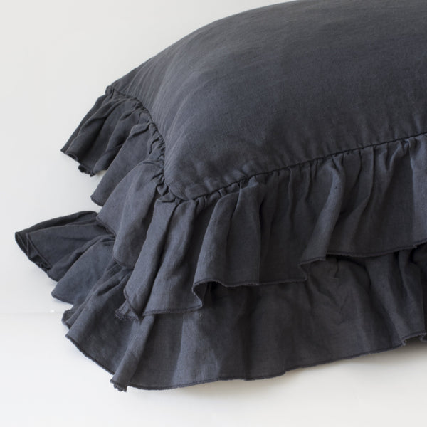 RUFFLE PILLOWCASES, NAVY