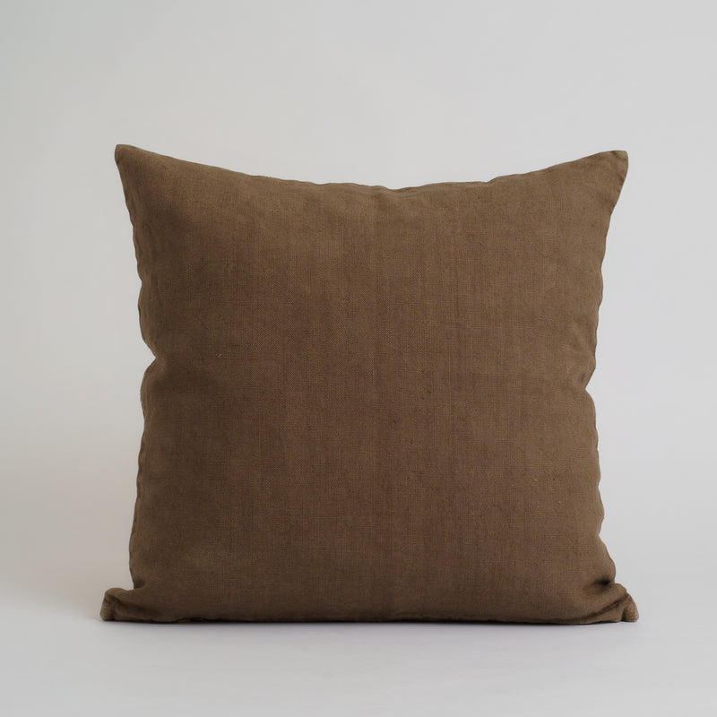 HEAVYWEIGHT LINEN DECO PILLOWS, BROWN