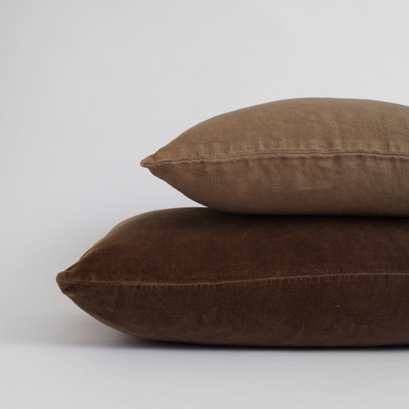 VELVET DECO PILLOWS, BROWN