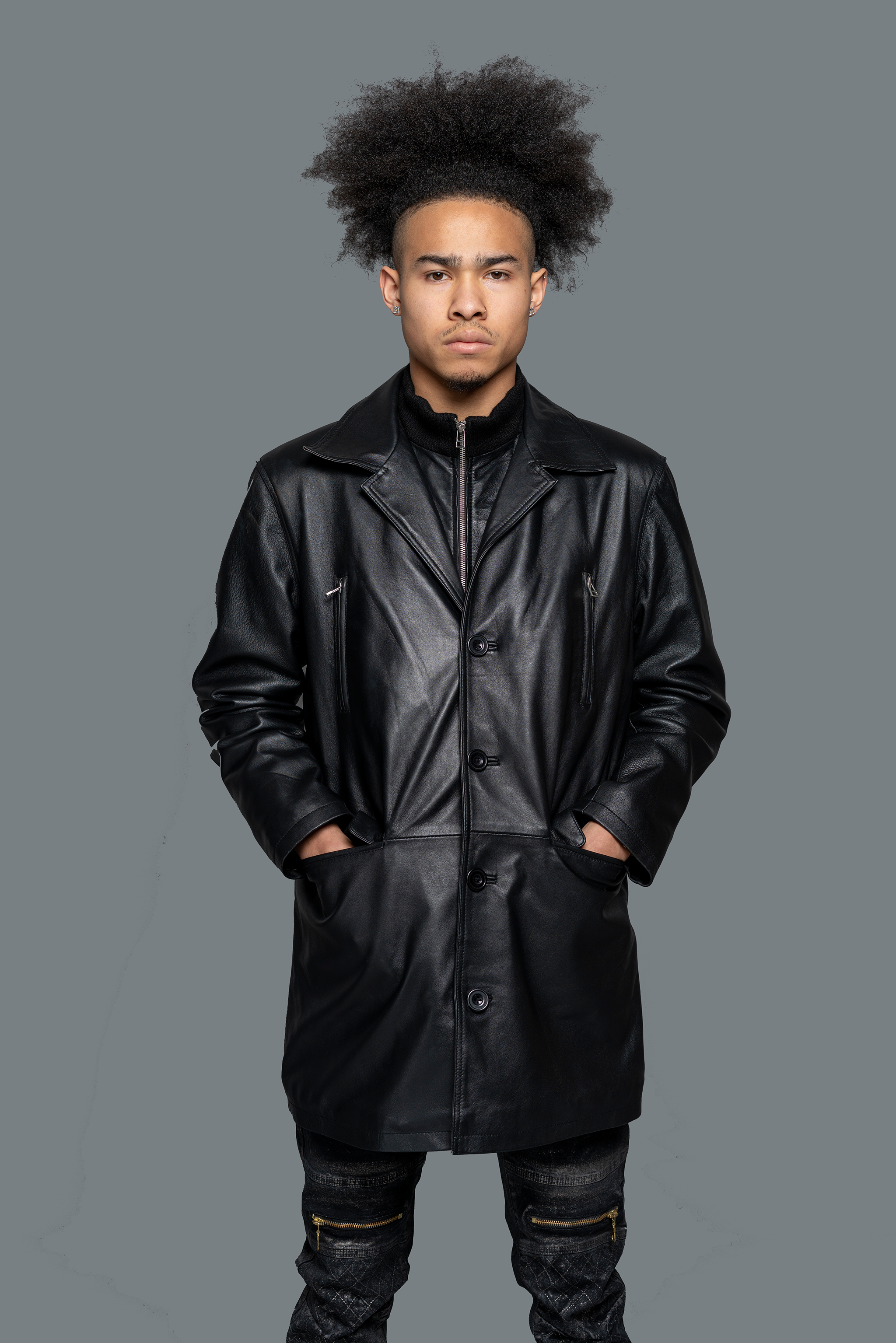 G.K. LEATHER PEA COAT