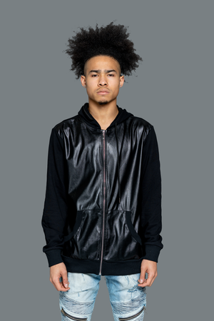 best Faux Leather Hoodie Jacket -  Men Leather Hooded Jacket Black which is combination of durable french terry & faux leather blends