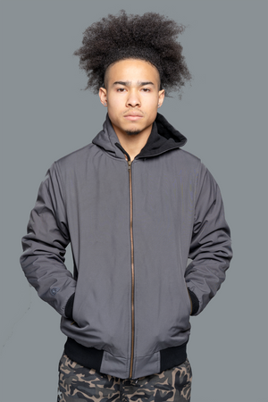 Lightweight Bomber Jacket For Men grey is leather bomber for men to give your street wear outfit an instant upgrade.