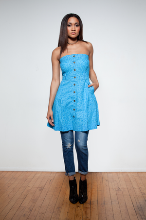 TEAR-AWAY BLUE PATTERNED DRESS