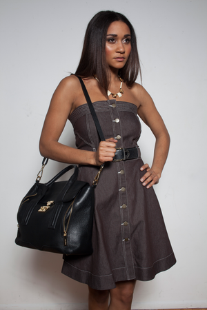 TEAR-AWAY BROWN DENIM DRESS