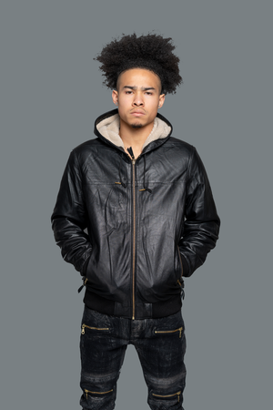 best Lambskin Leather Jacket & Sherpa Lined Hoodie. This fleece jacket contains 100% genuine leather & sherpa fabric lining