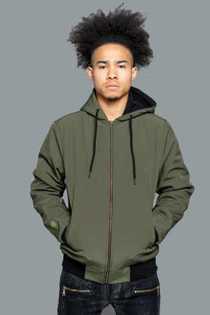 GK Light Green Bomber Jacket is for you. Lightweight Warm Jackets made by a specially coated polyester water-repellent outer shell, gold front zipper, zippered side pockets to protect your contents