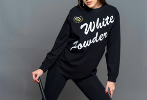 WHITE POWDER LONG SLEEVE BLACK T-SHIRT