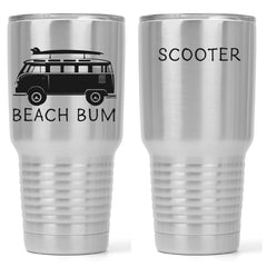 Beach Bum | Personalized 30 oz Beach Tumbler with Lid | Stainless Steel