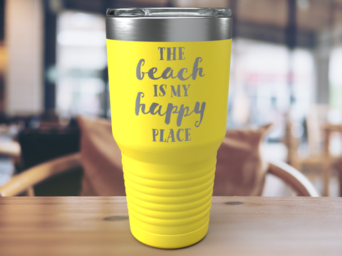 The Beach Is My Happy Place - Personalized - 30 oz Stainless Steel Wine Tumbler & Funny Mug - Custom Coffee Travel Mug - Perfect for Men, Women Best Friend