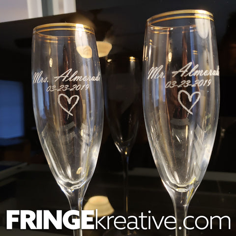 engraved glass, laser etched wine glasses, wedding wine glasses, best laser engravers, fringekreative, canyon lake ca