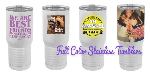 CUSTOM FULL COLOR TUMBLERS, PERSONALIZED GIFTS, PHOTO GIFTS, PHOTO MUGS