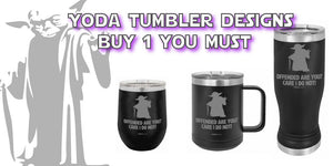 star wars, yoda, custom tumblers, personalized gifts, stainless tumblers, engraved tumblers