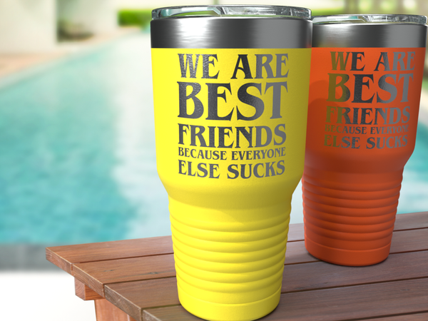 We are Best Friends Because - Personalized - 30 oz Stainless Steel Wine Tumbler & Funny Mug - Custom Coffee Travel Mug - Perfect for Men, Women Best Friend