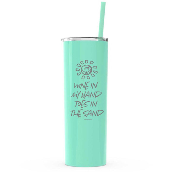 mint,Wine In My Hand Toes In The Sand, Personalized 20oz Skinny Tumbler