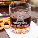 FringeKreative Gadsden Flag Don't Tread on Me - Premium Whiskey Tumbler Glass