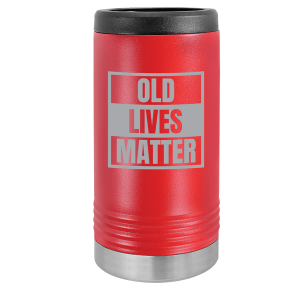 Slim Can Koozie, Old Lives Matter , Funny Can Cooler, Stainless Steel Dual Wallled Can Coozie, Old Man Gift , Laser Etched Can Koozie Cooler, Gag Birthday Gift red
