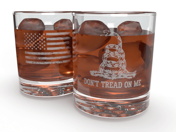 FringeKreative Gadsden Flag Don't Tread on Me - Premium Whiskey Tumbler Glass - Kitchen Barware Accessories - Patriotic American Made Drinkware - Personalized Gifts for Dad or Grandpa - (12oz Glass)