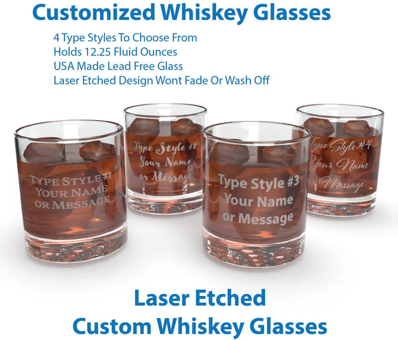 Personalized Premium Scotch & Whiskey Tumbler Glass - Laser Etched- American Made Drinkware - Personalized Gifts for Men, Dad, and Grandpa
