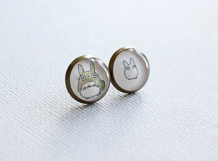 Totoro Antique Brass Stud Earrings