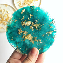 Load image into Gallery viewer, Gold & Teal Resin Coaster Set